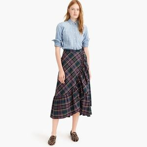 J. Crew Plaid Ruffle Hem Wrap Skirt